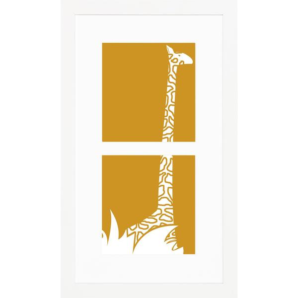 Jungle Animal Silhouettes Giraffe Framed Art Print