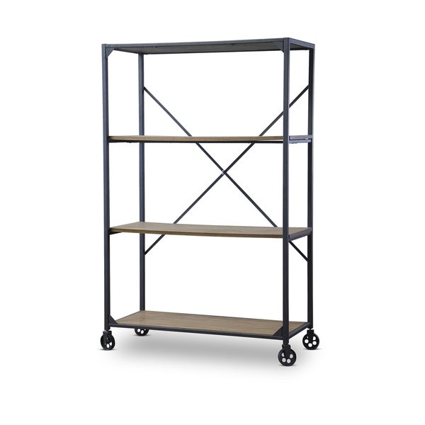 Baxton Studio Caribou Industrial Rustic Wood and Metal Bookcase ...