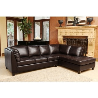 ABBYSON LIVING Charlie Top Grain Leather Sectional Sofa