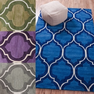 Well Woven Space Dyed Cut Pile Hand Tufted Elegant Lattice Modern Wave Polyester Rug (7'6 x 9'6)