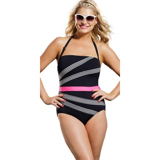Anne Cole Women's Plus Size Stripe Bandeau Swimsuit