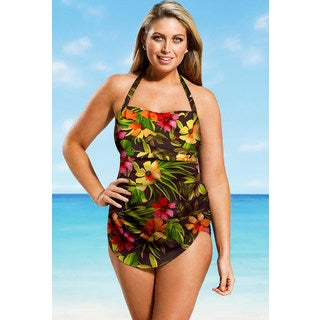 Beach Belle Women's Plus Size Rainforest Halter Sarong Front Swimsuit