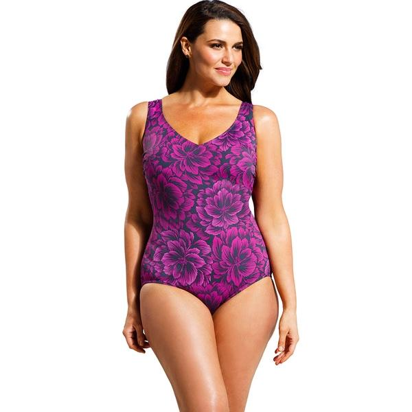 Beach Belle Women's Plus Size Raspberry Firework V-neck One Piece Swimsuit