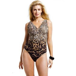 Carmen Marc Valvo Women's Plus Size Zanzibar Leopard Swimsuit