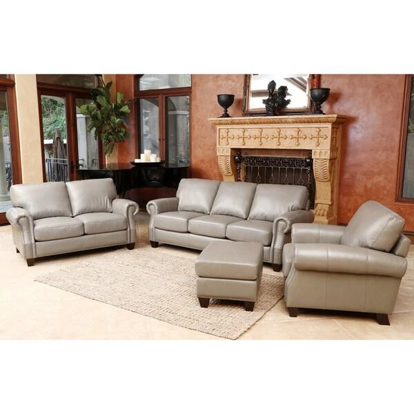 Abbyson Living Landon 4 Piece Top Grain Leather Sofa Loveseat Armchair Ottoman 16933815