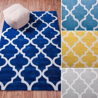 Well Woven Cut And Loop Hand Tufted Modern Trellis Lattice Lines Polyester Rug (5' x 7'6)