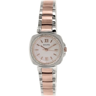 Bulova Women's Diamond 98R206 Rose-gold Stainless Steel Quartz Watch