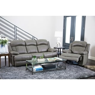 Abbyson Living Clarence Top Grain Leather Reclining Sofa and Recliner