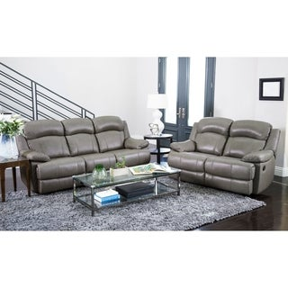 ABBYSON LIVING Clarence Top Grain Leather Reclining Sofa and Loveseat