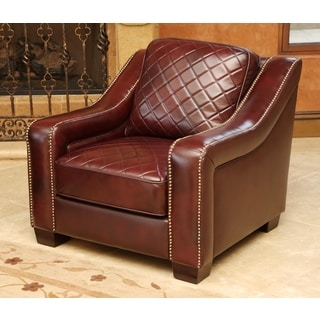 ABBYSON LIVING Sophia Burgundy Top Grain Leather Armchair