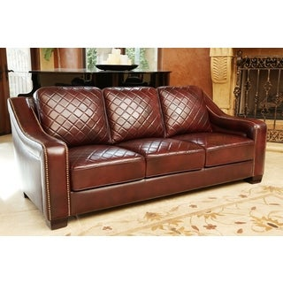 ABBYSON LIVING Sophia Burgundy Top Grain Tufted Leather Sofa