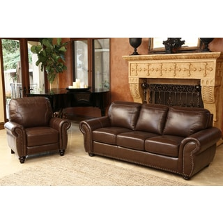 ABBYSON LIVING Bellavista Top Grain Leather Sofa and Recliner Set