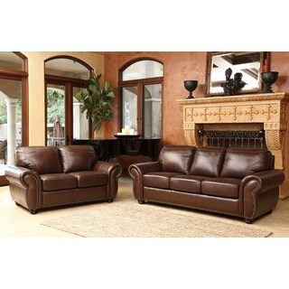 ABBYSON LIVING Bellavista Top Grain Leather Sofa and Loveseat