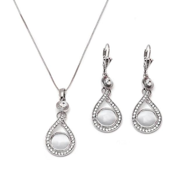 Rhodium Plated Silver and Crystal Elements Teardrop Circle Drop Earrings and Pendant Necklace Set