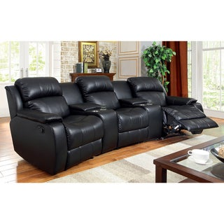 Furniture of America Corain Black 3-Piece Theatre Reclining Sectional