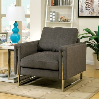 Furniture of America Harlin Modern Taupe Grey Chenille Arm Chair
