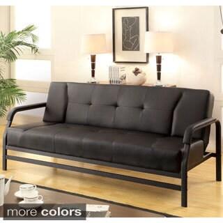 Furniture of America Balin Modern Faux Leather Futon Sofa
