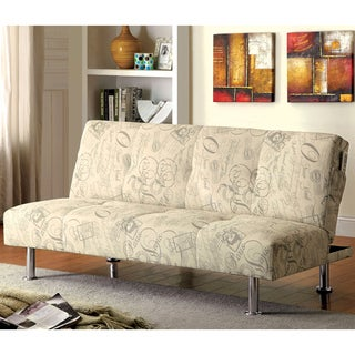 Furniture of America Lariel Modern Script Print Fabric Futon Sofa with Pockets