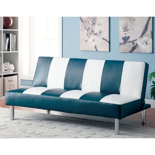 Furniture of America Rondel Striped Blue Futon Sofa