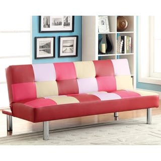 Furniture of America Galariel Romantic Checkered Pink Futon Sofa