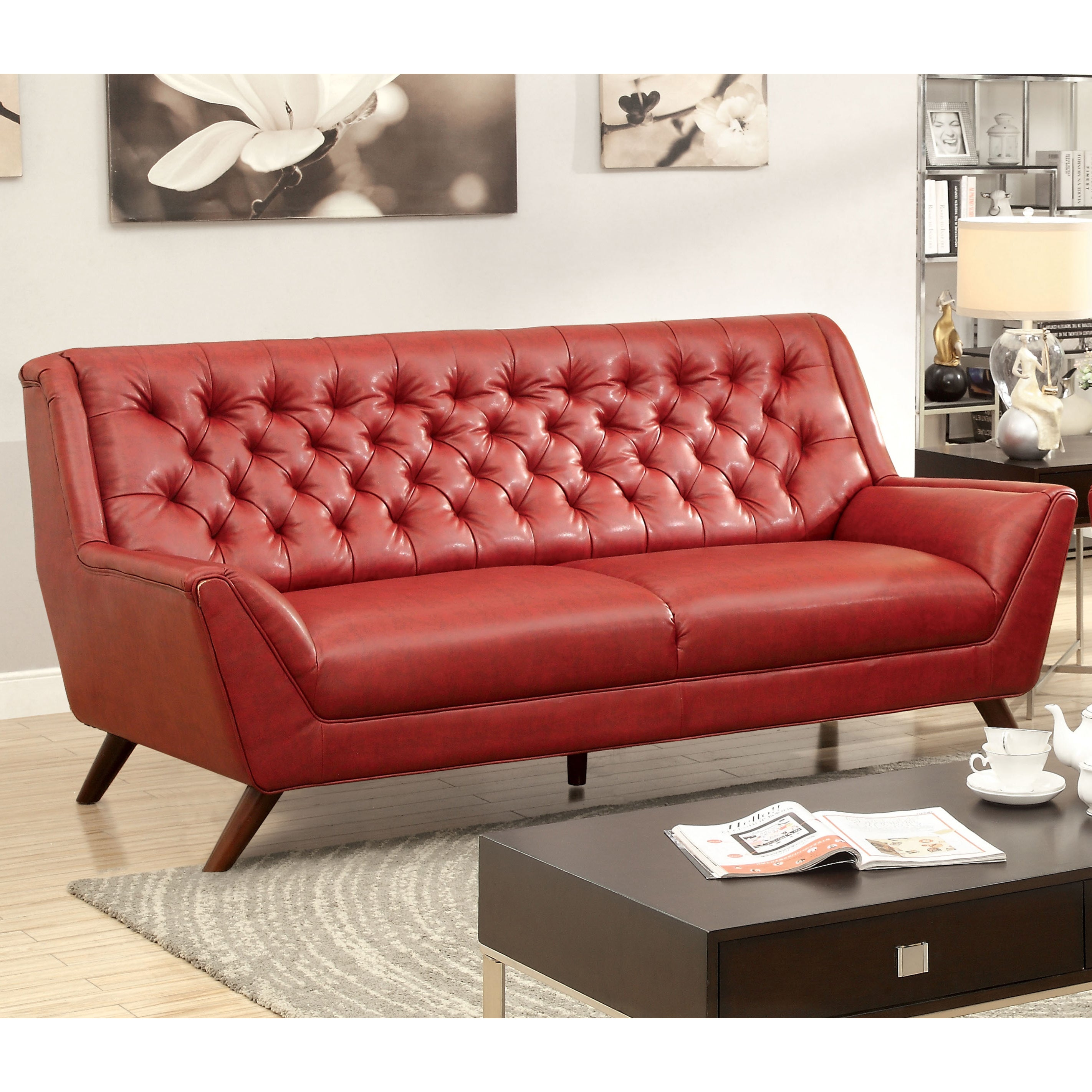 Furniture America Valentino Mid Century Modern Bonded Leather Sofa Talentneeds
