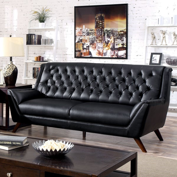 Furniture America Valentino Mid Century Modern Bonded Leather Sofa 600