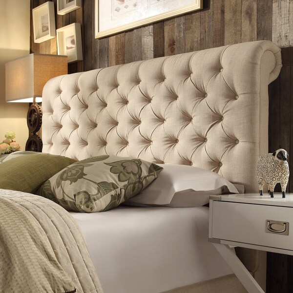 beige linen rolled top tufted chesterfield queen headboard