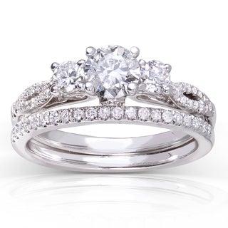 Annello 14k White Gold 7/8ct TDW Round-cut Diamond Bridal Set (H-I, I1-I2) with Bonus Item