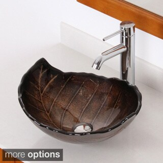 ELITE Fall+F371023 Leaves Design Tempered Glass Bathroom Vessel Sink with Faucet Combo