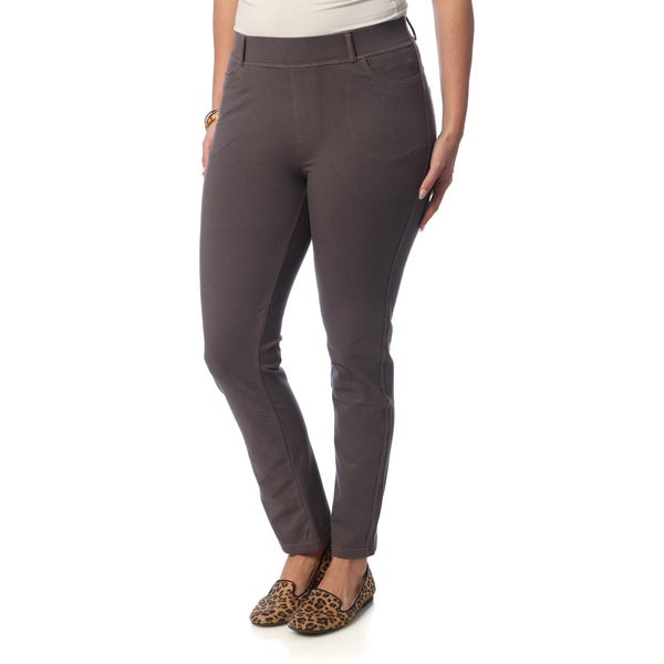 La Cera Women's Plus Size Taupe Denim Jeggings in Size 4X (As Is item)