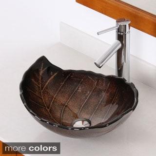 Elite Fall/ 2659 Tempered Glass Leaf Design Bathroom Vessel Sink/ Faucet
