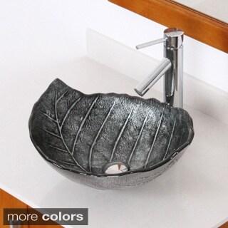 Elite Winter/ 2659 Tempered Glass Leaf Design Bathroom Vessel Sink/ Faucet