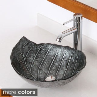 Elite Winter/ F371023 Tempered Glass Leaf Design Bathroom Vessel Sink/ Faucet