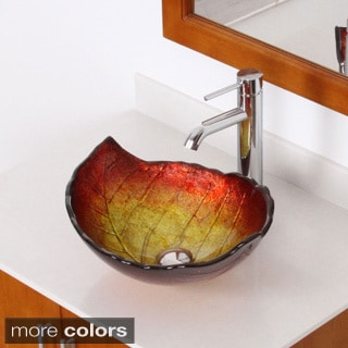 Elite Summer/ F371023 Tempered Glass Leaf Design Bathroom Vessel Sink/ Faucet