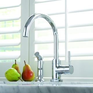 Premier Essen Lead-Free Single-Handle High-Arc Chrome Kitchen Faucet with Matching Spray