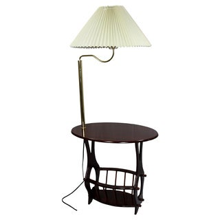 Brass Floor Lamp End Table with Magazine Rack