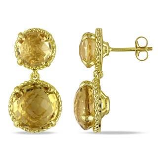Miadora Yellow Silver Citrine Dangle Earrings