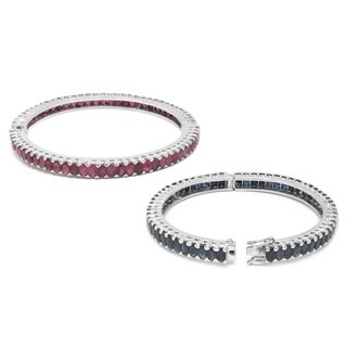 De Buman Sterling Silver Natural Sapphire or Natural Ruby Bangle Bracelet