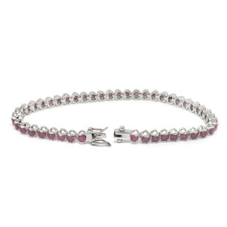 De Buman Sterling Silver Natural Ruby, Sapphire or Amethyst Bracelet