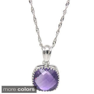De Buman Sterling Silver Natural Blue Topaz or Amethyst Necklace