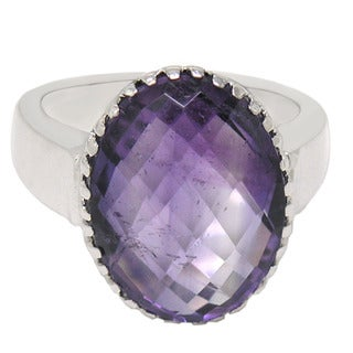 De Buman Sterling Silver Natural Amethyst Ring