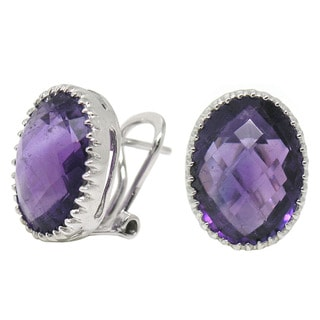 De Buman Sterling Silver Natural Amethyst Earrings