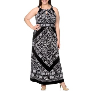 Chelsea & Theodore Women's Plus Size Printed Halter Maxi Dress