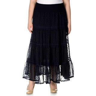 Chelsea & Theodore Women's Plus Size Peasant Style Navy Dot Maxi Skirt