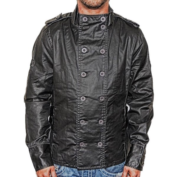 i.am Men's Waxed Cotton Spring Black Button Down Jacket