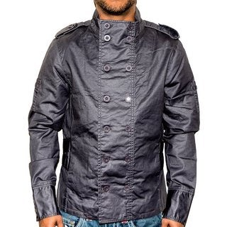 i.am Men's Waxed Cotton Spring Grey Button Down Jacket