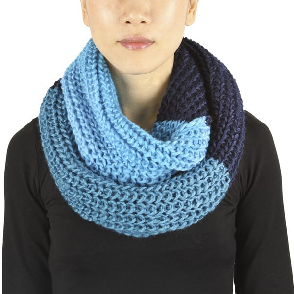 Three-tone Knit Infinity Scarf