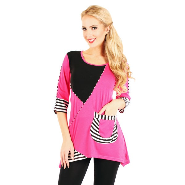 Firmiana Women's 3/4 Sleeve Stylish Stripe Detail Top