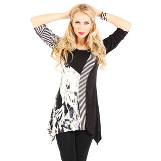 Women's 3/4 Sleeve Black and White Top