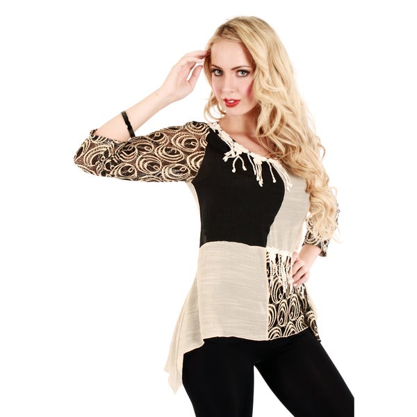 Firmiana Women's Black and Beige Patchwork Style Blouse